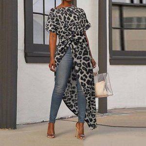 COPY - Gray Leopard Print Blouse